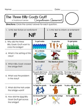 Reading Comprehension Quiz [High Level Questions] THREE BILLY GOATS GRUFF