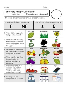 Reading Comprehension Quiz [High Level Questions] VERY HUNGRY CATERPILLAR