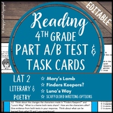 Reading Part A Part B Test, Task Cards LAT 2- Fiction and Poetry