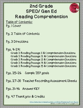 Reading Comprehension Assessments (2nd) Version 3
