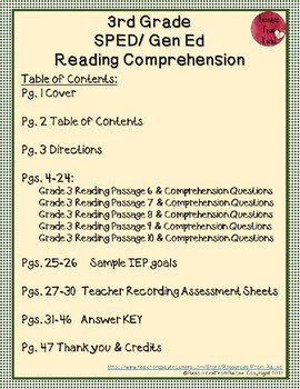 Reading Comprehension Assessments (3rd) Version 2