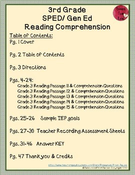 Reading Comprehension Assessments (3rd) Version 3