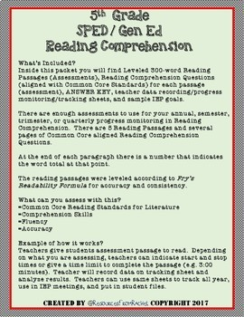 Reading Comprehension Assessments (5th) Version 1