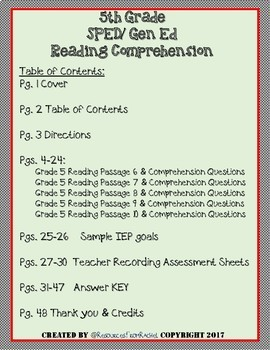 Reading Comprehension Assessments (5th) Version 2