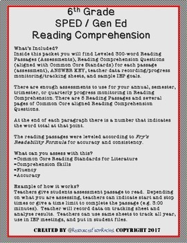 Reading Comprehension Assessments (6th) Version 2