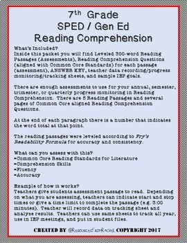 Reading Comprehension Assessments (7th) Version 1