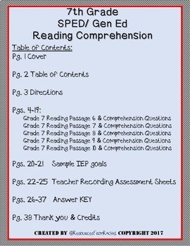 Reading Comprehension Assessments (7th) Version 2