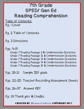 Reading Comprehension Assessments (7th) Version 3