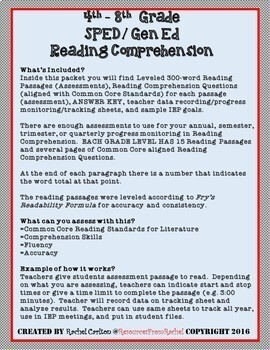 Reading Comprehension Assessments BUNDLE (4th-8th)