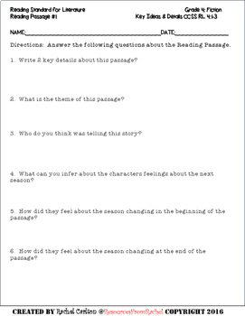 Reading Comprehension Assessments FREEBIE (4th)