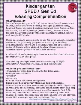 Reading Comprehension Assessments (Kindergarten) Version 2
