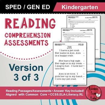 Reading Comprehension Assessments (Kindergarten) Version 3