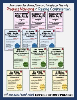 Reading Comprehension Assessments YEAR-LONG BUNDLE (K-3)