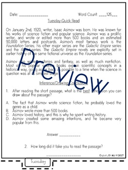 Reading Comprehension BUNDLE-Quick Reads