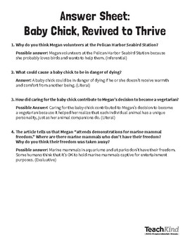 Reading Comprehension: Baby Chick, Revived to Thrive