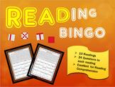 Reading Comprehension Bingo Game - 10 Fictional Reading Passages - Medium
