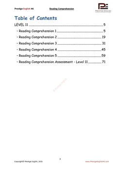 Reading Comprehension Book - Level 11