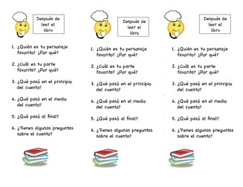 Reading Comprehension Bookmark (English and Spanish)