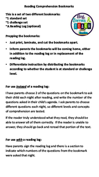 Reading Comprehension Bookmarks: An Alternative to Reading Logs