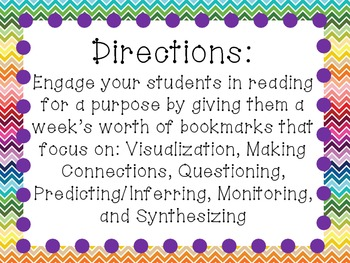 Reading Comprehension Bookmarks: Thinking Strategies
