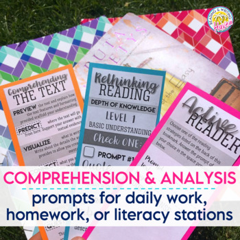 Reading Comprehension Bookmarks Quick Assessment to Use with Any Novel
