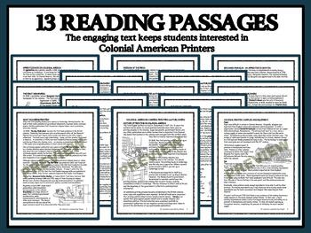 Reading Comprehension Bundle - Colonial American Printers