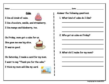 Reading Comprehension- Cake