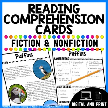 Reading Comprehension Cards - Fiction and Nonfiction | Distance Learning GOOGLE