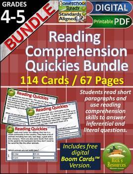 Reading Comprehension Cards - 3-Set BUNDLE - Printable and FREE Digital Versions