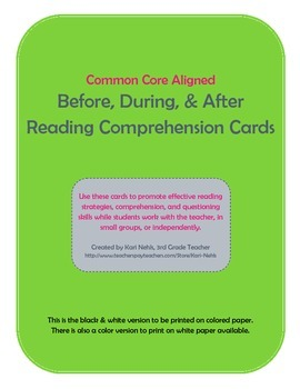 Reading Comprehension Cards (B&W)