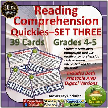 Reading Comprehension Cards - SET 3 - Printable and FREE Digital Version