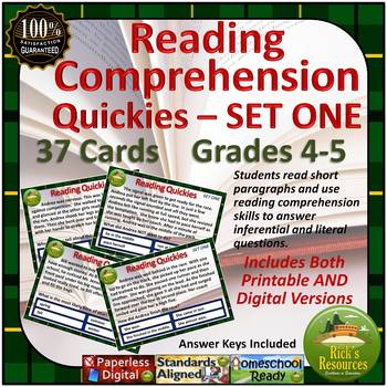Reading Comprehension Cards - SET ONE - Digital and Printable Versions Included