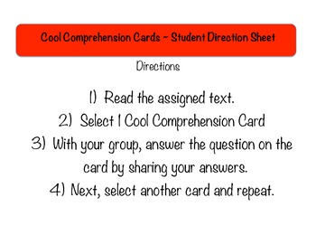 Reading Comprehension Cards Set #1 (Task Cards for Reading Literature)