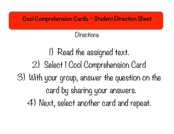 Reading Comprehension Cards Set #2 (Task Cards for Reading Literature)
