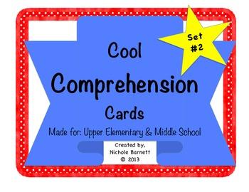 Reading Comprehension Cards Set #2 (Task Cards for Reading