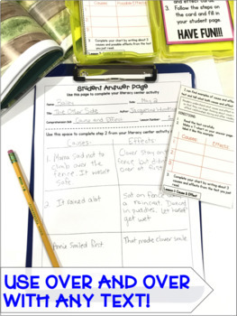 Reading Comprehension Literacy Center: Cause and Effect- Included in Bundle #1