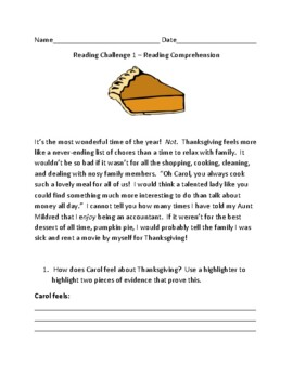 Reading Comprehension Challenges