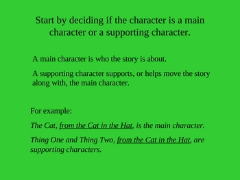 Reading Comprehension: Character PowerPoint