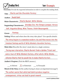 Reading Comprehension Check (Fiction)