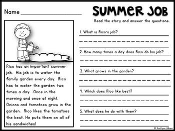 Reading Comprehension Check - Summer Passages