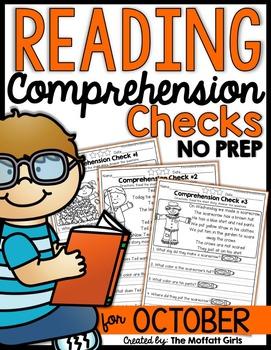 Reading Comprehension Checks for October (NO PREP)