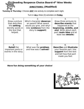 Reading Comprehension Choice Board
