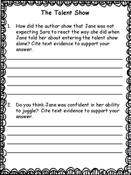 Reading Comprehension Citing Text Evidence