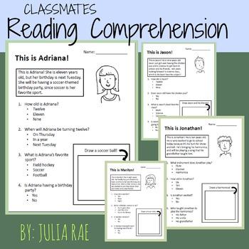 Reading Comprehension Worksheets - Classmates & Friends