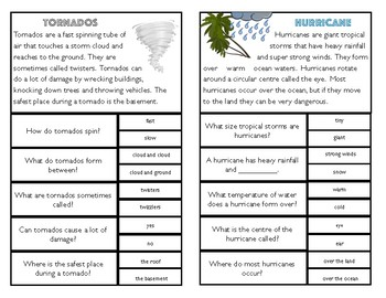 Reading Comprehension Clip Cards: Science