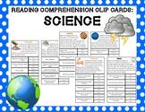 Reading Comprehension Clip Cards: Science