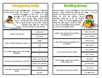 Reading Comprehension Clip Cards: Winter Activities