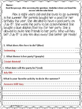 Reading Comprehension Color Coding Passages- Summer Themed