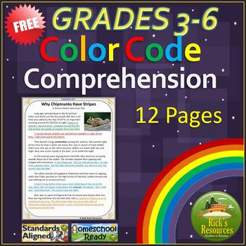 Close Reading Comprehension Color-Coding Text Evidence FREE