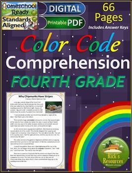 Close Reading Comprehension Color-Coding Text Evidence 4th Grade